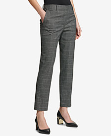 DKNY Plaid Skinny Ankle Pants, Created for Macy's