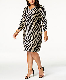 JM Collection Plus Size Printed Zip-Neck Dress, Created for Macy's