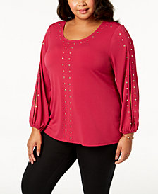 JM Collection Plus Size Studded Split-Sleeve Top, Created for Macy's