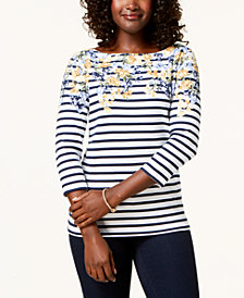 Karen Scott Mixed-Print Boat-Neck Top, Created for Macy's
