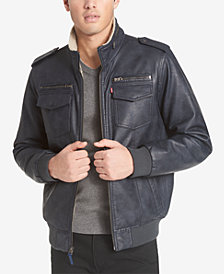 Levi's® Men's Faux-Leather Aviator Bomber Jacket with Fleece Lining