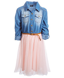 Pink & Violet Little Girls Denim-Bodice Tutu Dress