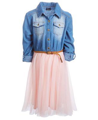 Pink Violet Big Girls Denim Bodice Tutu Dress Dresses Kids