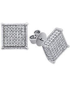 Swarovski Zirconia Square Cluster Stud Earrings in Sterling Silver