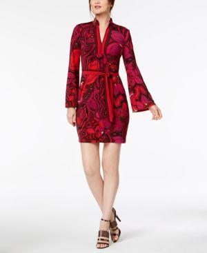 Trina Turk Joni Printed Bell-Sleeve Dress 6635849