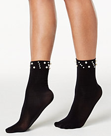 I.N.C. Imitation-Pearl Ankle Socks, Created for Macy's
