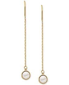 Mother-of-Pearl Threader Earrings in 14k Gold