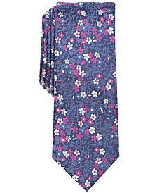 Bar III Men's Rodgers Floral Skinny Silk Tie, Created for Macy's