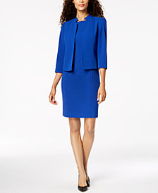 Kasper Crepe Flyaway Jacket & Crepe Sheath Dress