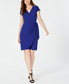 I.N.C. Petite Faux-Wrap Dress, Created for Macy's