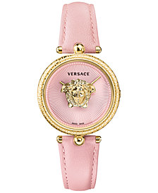 Versace Women's Swiss Palazzo Empire Pink Leather Strap Watch 34mm