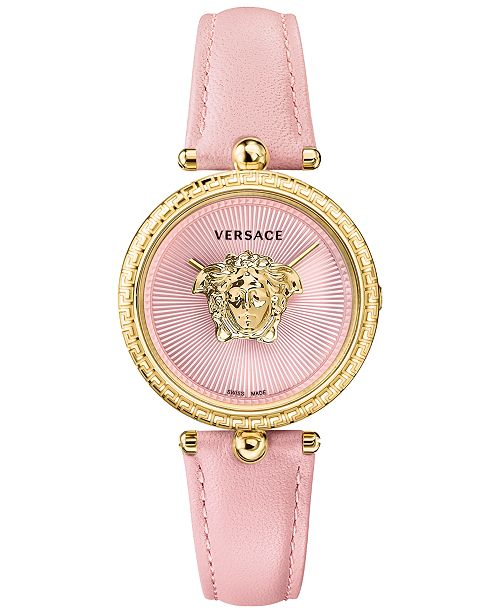 f9a3a844cb0 Versace Women s Swiss Palazzo Empire Pink Leather Strap Watch 34mm ...