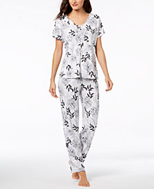 I.N.C. Sheer Lace Cutout Pajama Set, Created for Macy's