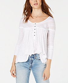 Free People Down Under Raw-Trim Henley