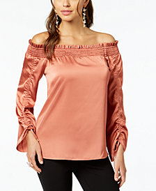 Thalia Sodi Shirred Off-The-Shoulder Top, Created for Macy's