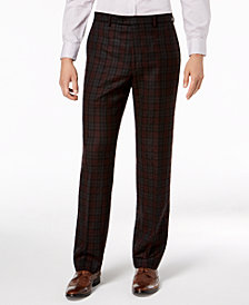 Lauren Ralph Lauren Men's Classic-Fit Maroon/Black Plaid Flannel Dress Pants