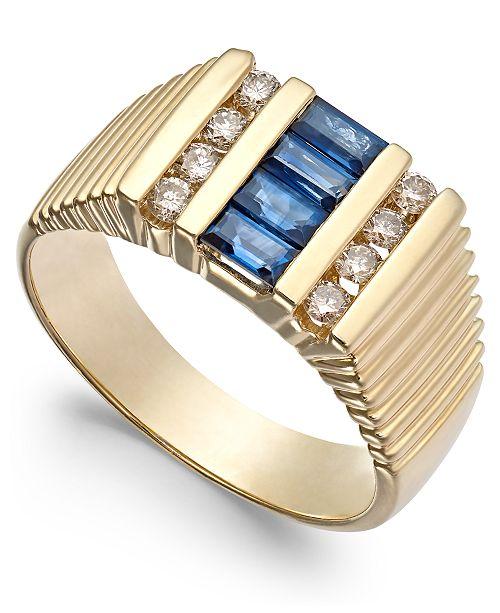 Macy's Men's Sapphire (9/10 ct. t.w.) & Diamond (2/5 ct. t.w.) Textured Ring in 14k Gold