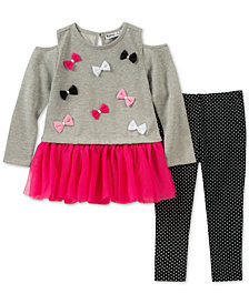 Kids Headquarters Baby Girls 2-Pc. Cold-Shoulder Bows Tunic & Leggings Set