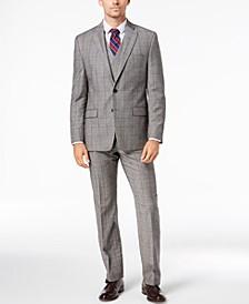 Men's Classic-Fit UltraFlex Stretch Black/White Windowpane Vested Suit Separates