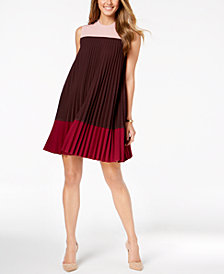 Alfani Petite Pleated Colorblocked Dress, Created for Macy's
