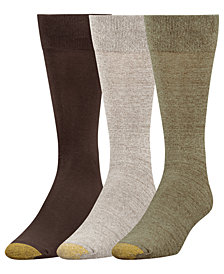 Gold Toe Men's 3-Pk. Flat-Knit Crew Socks