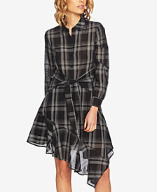 1.STATE Asymmetrical Plaid Shirtdress