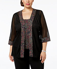 Alex Evenings Plus-Size Printed Sparkle-Embellished Jacket & Top Set