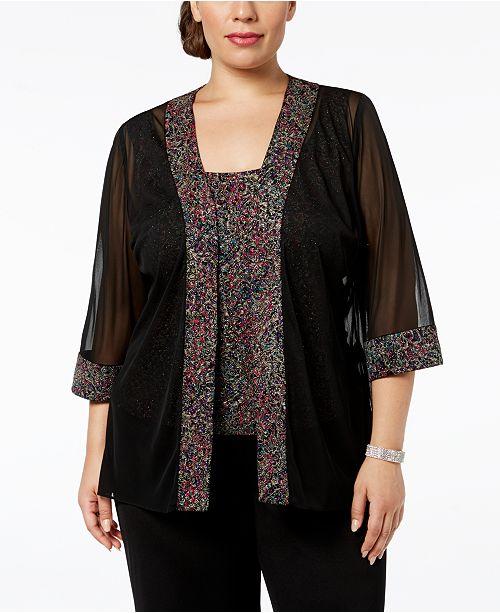 e156cd9ec4e ... Set  Alex Evenings Plus-Size Printed Sparkle-Embellished Jacket   Top  ...