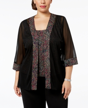1920s Style Shawls, Wraps, Scarves Alex Evenings Plus-Size Printed Sparkle-Embellished Jacket  Shell $149.00 AT vintagedancer.com