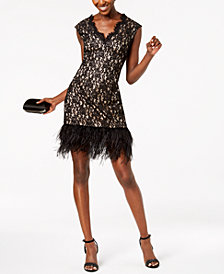Vince Camuto Feather-Trim Lace Dress