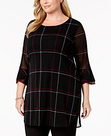 Alfani Plus Size Printed Tulip-Sleeve Tunic, Created for Macy's