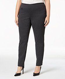 Alfani Plus Size Tummy-Control Pull-On Skinny Pants, Created for Macy's