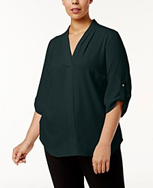 Plus Size Pleated-Neck Blouse