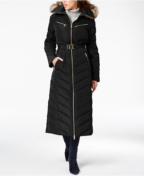 MICHAEL Michael Kors Petite Faux-Fur-Trim Maxi Puffer Coat $400 (Macy's)