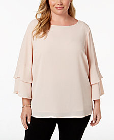 Calvin Klein Plus Size Tiered-Sleeve Blouse