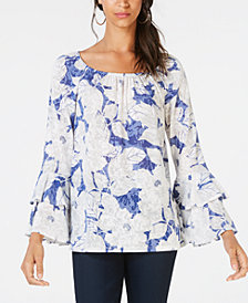 I.N.C. Printed Tiered Peasant Top, Created for Macy's