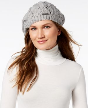 Michael Michael Kors Pointelle Cable-Knit Beret - Pearl Heather Grey