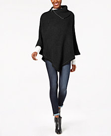 MICHAEL Michael Kors Zippered Ribbed-Knit Poncho