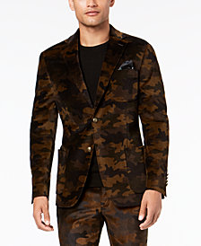 Tallia Men's Big & Tall Slim-Fit Brown Camouflage Velvet Suit Jacket