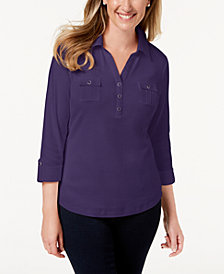 Karen Scott Cotton Polo Top, Created for Macy's