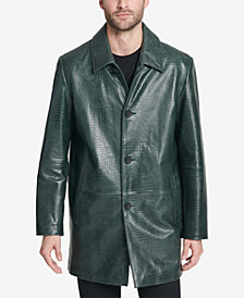 DKNY Men's Storm Trooper Leather Logo Overcoat, Created for Macy's