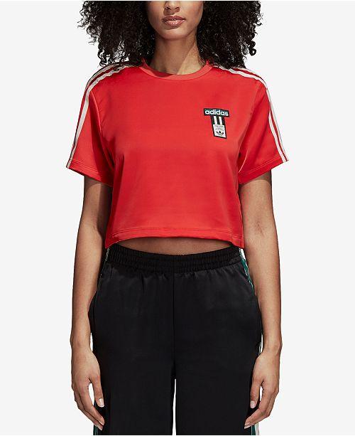 51c30651c073c4 adidas Adibreak Satin Cropped T-Shirt   Reviews - Tops - Women - Macy s
