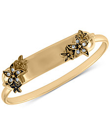 RACHEL Rachel Roy Gold-Tone Pavé Flower ID Bangle Bracelet