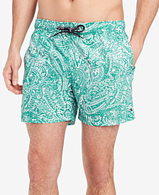 "Tommy Hilfiger Men's Paisley-Print 6.5"" Swim Trunks, Created for Macy's"