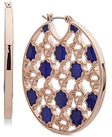 Ivanka Trump Rose Gold-Tone Stone Openwork Hoop Earrings