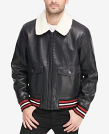 Tommy Hilfiger Men's Bomber Jacket with Sherpa Collar