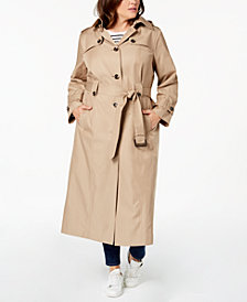 London Fog Plus Size Belted Maxi Trench Coat