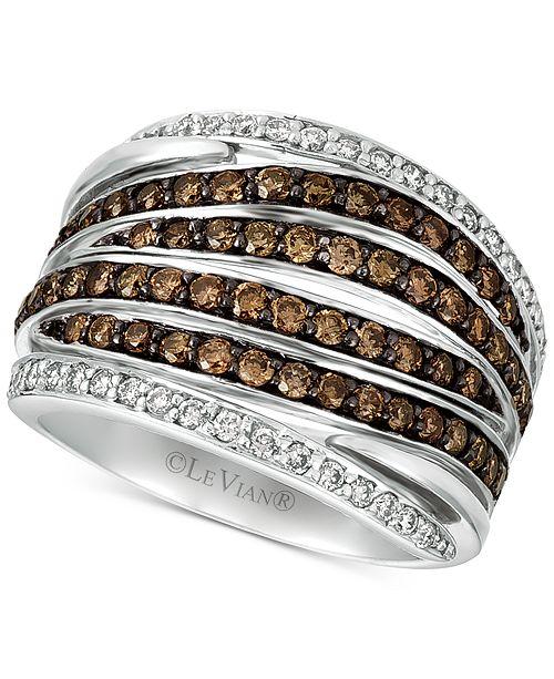 Le Vian Chocolatier® Diamond Multi-Row Statement Ring (1-1/4 ct. t.w.) in 14k White Gold