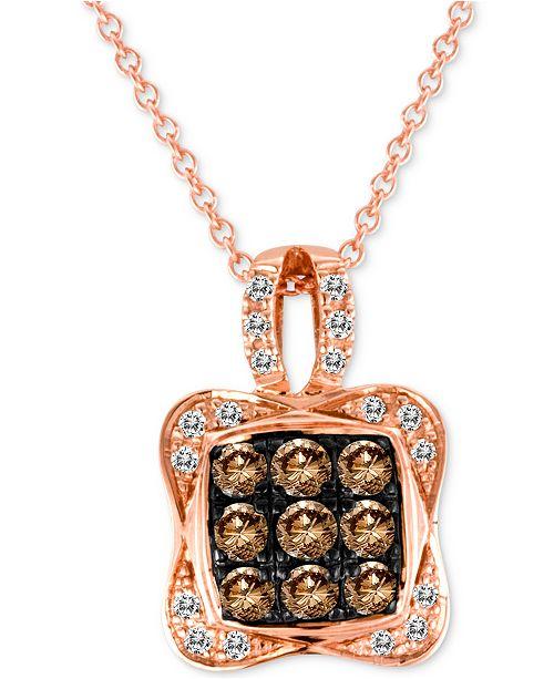 "Le Vian Chocolatier® Diamond Square Cluster 18"" Pendant Necklace (1/2 ct. t.w.) in 14k Rose Gold"