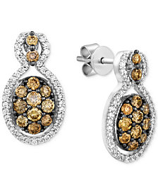 Le Vian Chocolatier® Diamond Cluster Drop Earrings (1 ct. t.w.) in 14k White Gold